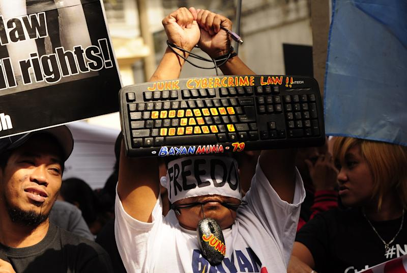 Youth and other civic organizations stage fresh protests against the Cybercrime Prevention Act amid Supreme Court deliberations on the controversial measure Jan. 15.
