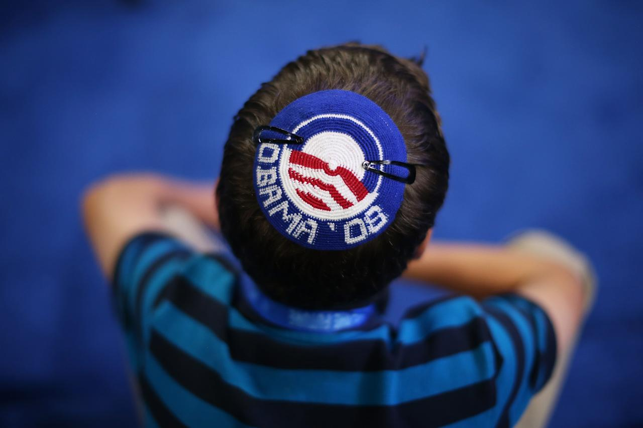 Joseph Block wears an Obama '08 yarmulke during day two of the Democratic National Convention at Time Warner Cable Arena on September 5, 2012 in Charlotte, North Carolina. The DNC that will run through September 7, will nominate U.S. President Barack Obama as the Democratic presidential candidate.  (Photo by Justin Sullivan/Getty Images)