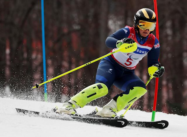 Alpine Skiing - Pyeongchang 2018 Winter Paralympics - Women's Slalom - Visually Impaired - Run 2 - Jeongseon Alpine Centre - Jeongseon, South Korea - March 18, 2018 - Millie Knight of Britain competes. REUTERS/Paul Hanna