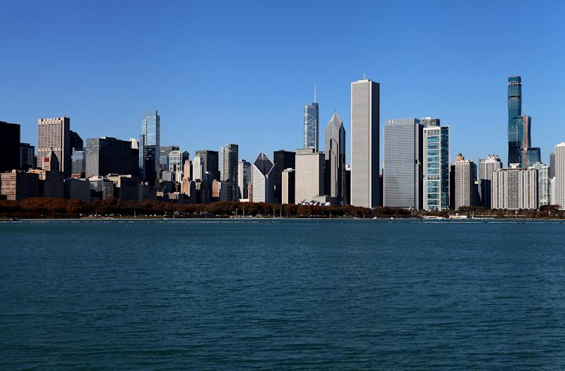 CHICAGO - NOVEMBER 05: Partial view of the Chicago skyline, photographed from outside the Adler Planetarium in Chicago, Illinois on November 5, 2019. (Photo By Raymond Boyd/Getty Images)