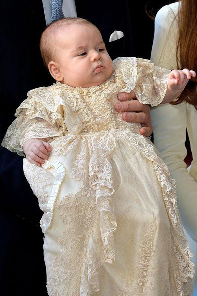 <p>Ahead of his christening at Chapel Royal in St. James's Palace, a three month-old Prince George was all of us when mom makes you wear coordinated looks with the family. </p>