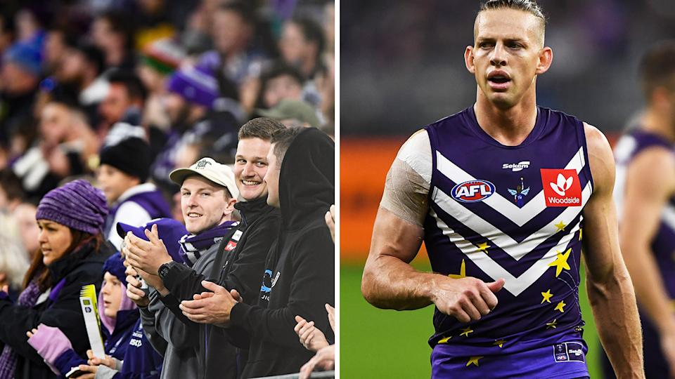 The Fremantle Dockers donned specially designed jumpers in honour of late superfan Milli Lucas on Thursday night, while the Optus Stadium crowd rose in applause at the 14-minute mark of the first quarter. Pictures: Getty Images