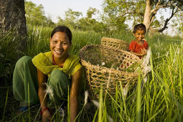 Women cutting grass, Khata, Nepal. © Simon de Trey-White/WWF-UK