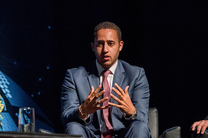 """Ithaca, New York Mayor Svante Myrick on stage during the Beyond Sport United 2016 at Barclays Center on August 9, 2016 in Brooklyn, New York.<span class=""""copyright"""">Getty Images—Roy Rochlin</span>"""