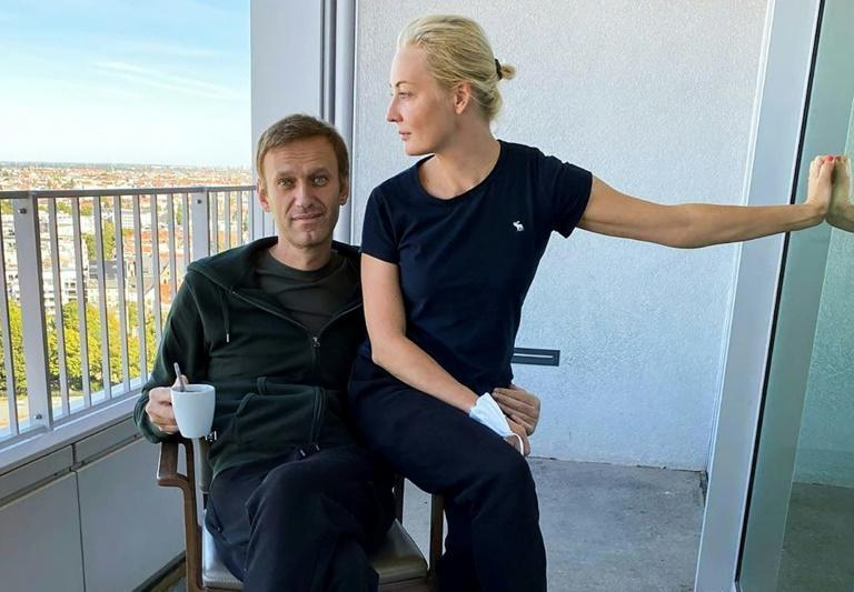 Navalny and his wife Yulia Navalnaya pictured in Berlin as he recovered from a near-fatal poisoning he blames on the Kremlin