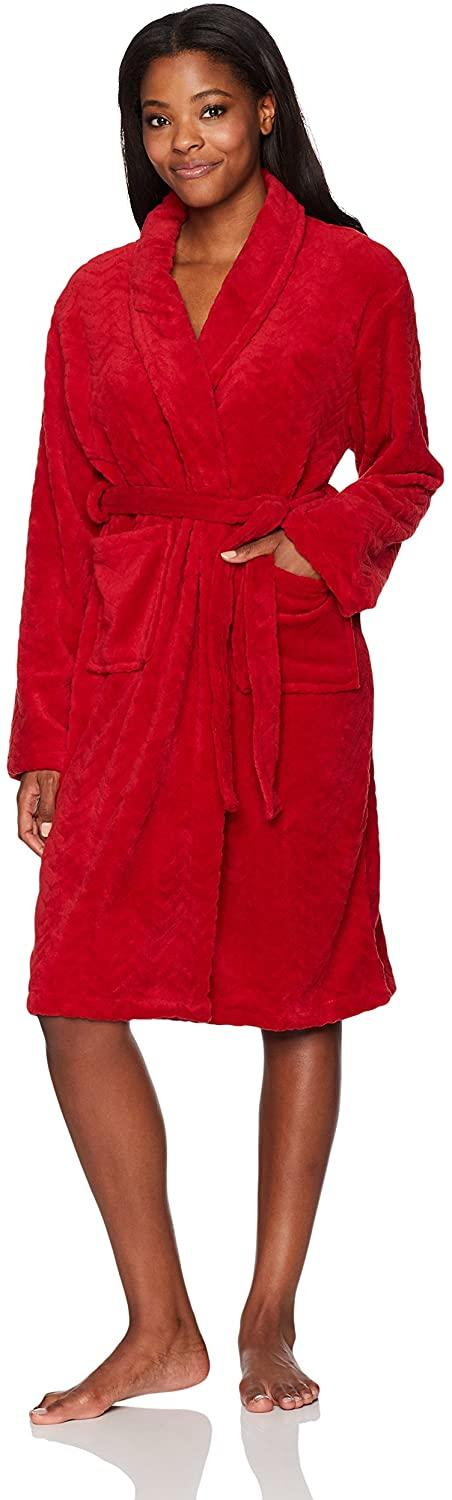 Hotel Spa Collection Herringbone Robe in red