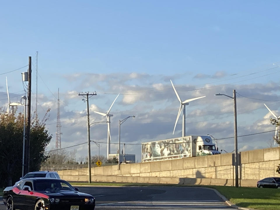 Photo by: STRF/STAR MAX/IPx 2020 11/10/20 Wind Turbines are seen in Atlantic City, New Jersey.