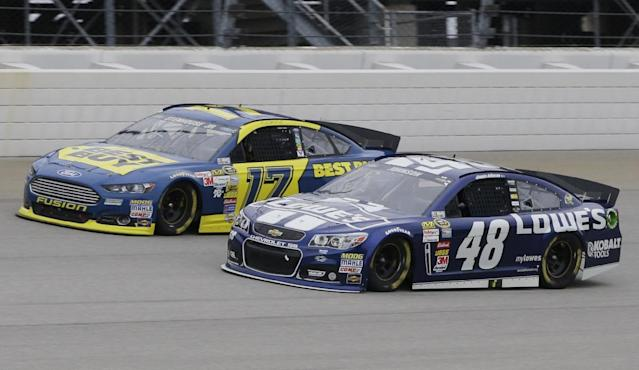 Jimmie Johnson (48) and Ricky Stenhouse Jr. (17) drive during the NASCAR Sprint Cup series auto race at Chicagoland Speedway, Sunday, Sept. 15, 2013, in Joliet, Ill.. (AP Photo/Nam Y. Huh)