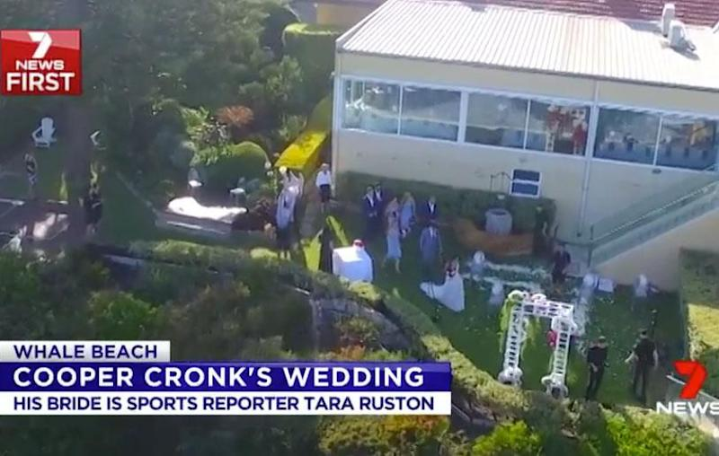 The brunette stunned as she arrived at her wedding ceremony in New South Wales' Whale Beach, in a breathtakingly beautiful bridal gown. Source: Channel Seven