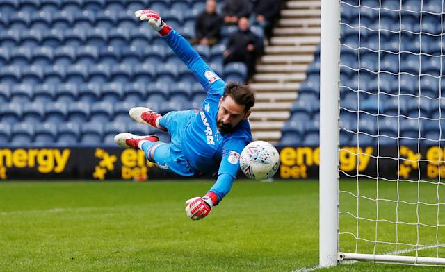 "Soccer Football - Championship - Preston North End vs Derby County - Deepdale, Preston, Britain - April 2, 2018 Derby County's Scott Carson in action Action Images/Craig Brough EDITORIAL USE ONLY. No use with unauthorized audio, video, data, fixture lists, club/league logos or ""live"" services. Online in-match use limited to 75 images, no video emulation. No use in betting, games or single club/league/player publications. Please contact your account representative for further details."