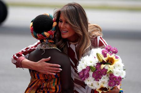Melania Trump opens Africa tour with a wave and baby in arms