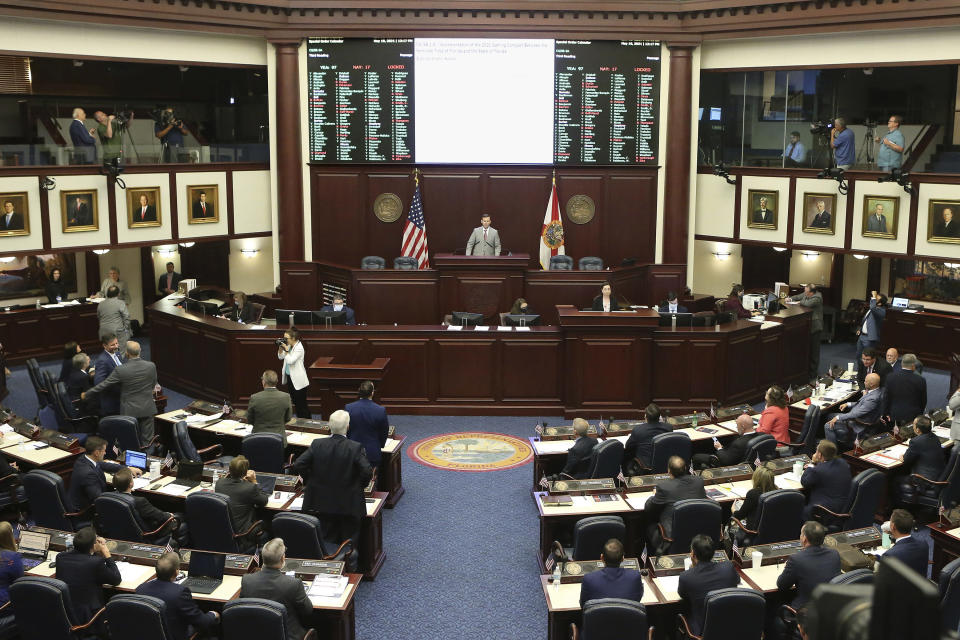 The Florida House voted to pass Seminole gambling compact during a special session, Wednesday, May 19, 2021, in Tallahassee, Fla. The Seminole Tribe will be able to operate sports betting under an agreement with Republican Gov. Ron DeSantis. The House voted 97-17 on Wednesday to approve the gambling compact. (AP Photo/Steve Cannon)