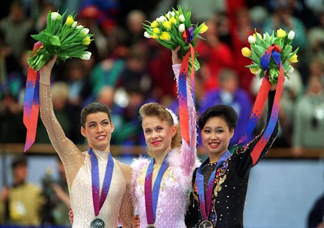 <p>Kerrigan was edged out by Baiul, who won the gold. Kerrigan earned the silver, and Lu Chen of China won bronze. Harding finished way off the podium at 8th, and it would be her final international competition. In June 1994, the United States Figure Skating Association stripped her of her 1994 U.S. Championships title and banned her for life. </p>
