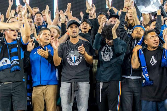 "<a class=""link rapid-noclick-resp"" href=""/soccer/players/372809/"" data-ylk=""slk:SAN JOSE"">SAN JOSE</a>, CA – SEPTEMBER 25: San Jose Earthquakes forward Chris Wondolowski (8) chants with the fans in the stands before the MLS soccer match between the Philadelphia Union and San Jose Earthquakes on September 25, 2019 at Avaya Stadium in San Jose, CA. (Photo by Bob Kupbens/Icon Sportswire via Getty Images)"
