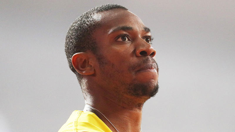 100m world champ Yohan Blake staring after a heat.