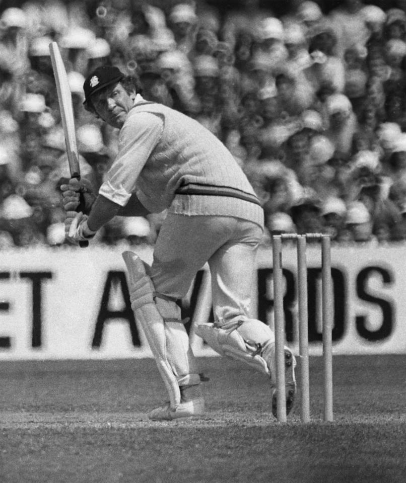 Scottish cricketer Mike Denness hits a century in the Sixth Test at Melbourne, Australia, February 1975. (Photo by Keystone/Hulton Archive/Getty Images)