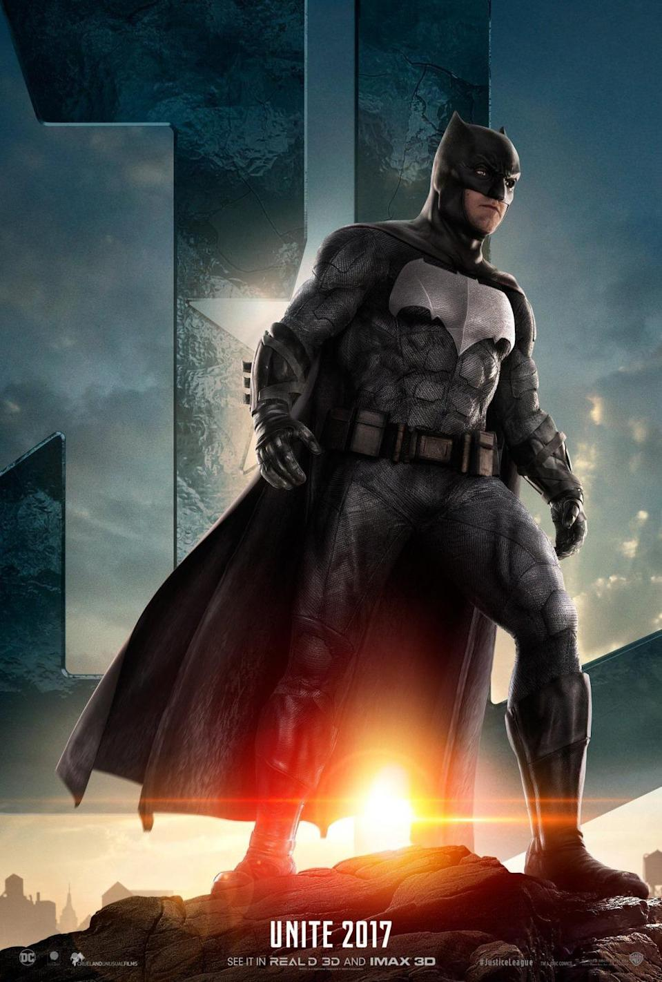 <p>Batman debuts new duds in his 'Justice League' character poster (Warner Bros./DC) </p>