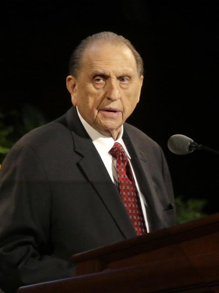 President Thomas S. Monson of The Church of Jesus Christ of Latter-day Saints addresses the 184th Annual General Conference of The Church of Jesus Christ of Latter-day Saints Saturday, April 5, 2014, in Salt Lake City. More than 100,000 Latter-day Saints are expected in Salt Lake City this weekend for the church's biannual general conference. Leaders of The Church of Jesus Christ of Latter-day Saints give carefully crafted speeches aimed at providing members with guidance and inspiration in five sessions that span Saturday and Sunday. They also make announcements about church statistics, new temples or initiatives. In addition to those filling up the 21,000-seat conference center during the sessions, thousands more listen or watch around the world in 95 languages on television, radio, satellite and Internet broadcasts. (AP Photo/Rick Bowmer)