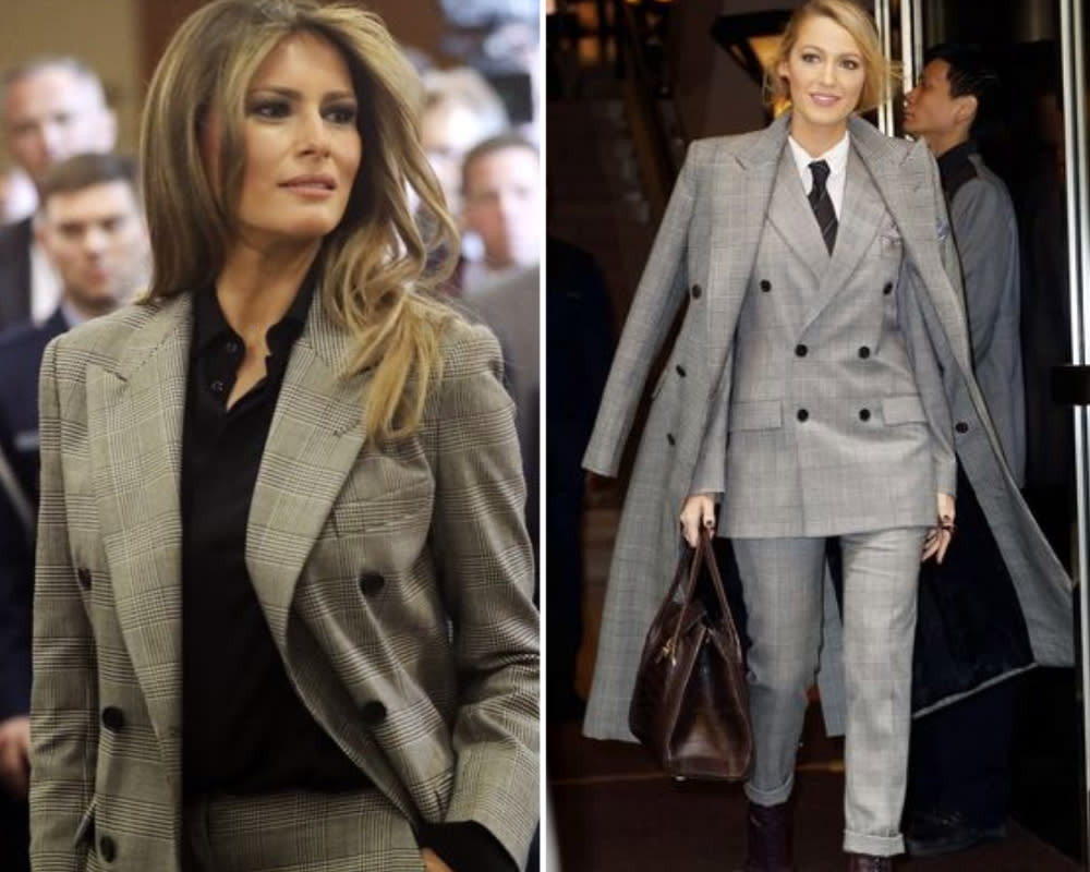 <p>Plaid suits are everywhere at the moment, and while the print might always look pretty similar, Melania and Blake both wore the exact same one. Melania wore the Ralph Lauren suit first in September at a United Nations event. Blake wore it only yesterday, as one of her seven outfit changes. But which is better? Melania's look, broken up by a black top, or Blake's three piece? <em>[photo: Getty/Splash photos]</em> </p>
