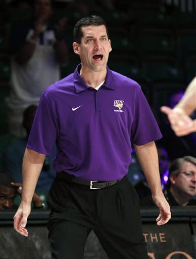 Northern Iowa head coach Ben Jacobson argues a call during the first half of an NCAA college basketball game against Memphis at the Battle 4 Atlantis tournament, Saturday, Nov. 24, 2012 in Paradise Island, Bahamas. (AP Photo/John Bazemore)