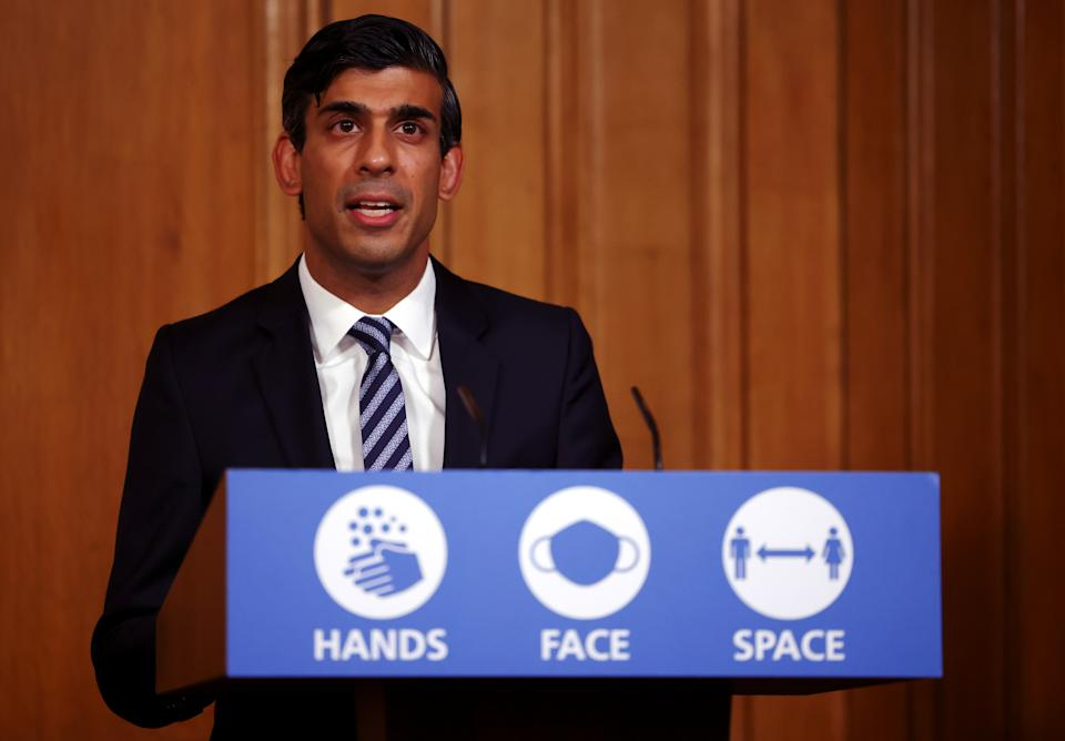 Britain's Chancellor of the Exchequer Rishi Sunak attends a news conference amidst the spread of the coronavirus disease (COVID-19), at Downing Street in London, Britain, October 22, 2020. REUTERS/Henry Nicholls/Pool