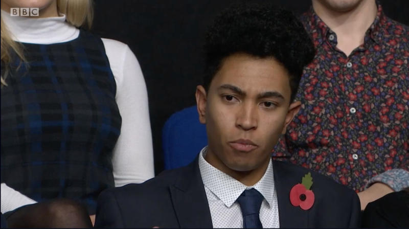 """A 17-year-old schoolboy won raucous applause from last night's Question Time audience by asking:""""How is it that I know how to respect women better than some of our government ministers do?""""  Teen Nathan Langford was heralded as """"tremendous"""" and """"inspiring"""" by viewers on Twitter after he tackled the panel in Croydon in the wake of the Westminster sex scandal."""
