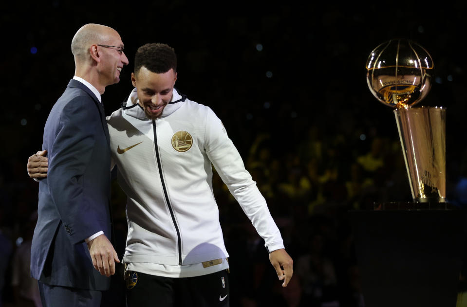 As league commissioner, Adam Silver, pictured with Steph Curry in October, has enjoyed a relatively warm relationship with the league's players. (AP)