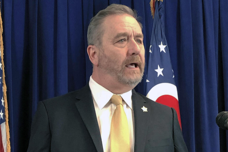 """FILE - In this Feb. 20, 2020, file photo, Republican Ohio Attorney General Dave Yost speaks in Columbus, Ohio. Yost sent a letter about the uproar over President Donald Trump's mail policy warning that """"radical changes"""" would """"place the solvency of the Post Office above the legitimacy of the Government itself."""" (AP Photo/Julie Carr Smyth, File)"""