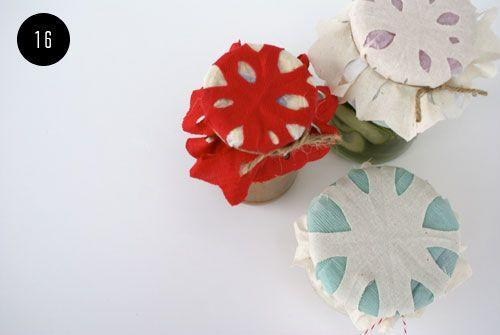 """<p>These snowflake-style jar toppers make the perfect finishing touch if you're giving homemade candies or condiments as seasonal gifts.</p><p><a href=""""https://thehousethatlarsbuilt.com/2011/12/16th-day-of-christmas-crafts-snowflake-jar-toppers.html/"""" rel=""""nofollow noopener"""" target=""""_blank"""" data-ylk=""""slk:Get the tutorial at The House That Lars Built"""" class=""""link rapid-noclick-resp""""><em>Get the tutorial at The House That Lars Built</em></a><br></p>"""