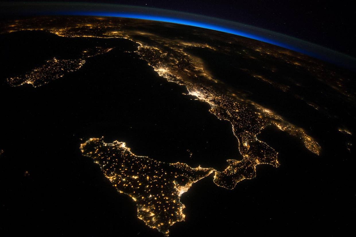 Italy oblique night image international space station expedition 40