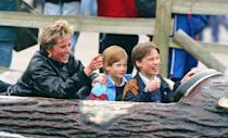 <p>Princess Diana took her sons on a mini vacation in Surrey, England in 1993. The royal children enjoyed an afternoon at Thorpe Amusement Park and seemed to especially enjoy the log flume ride. </p>