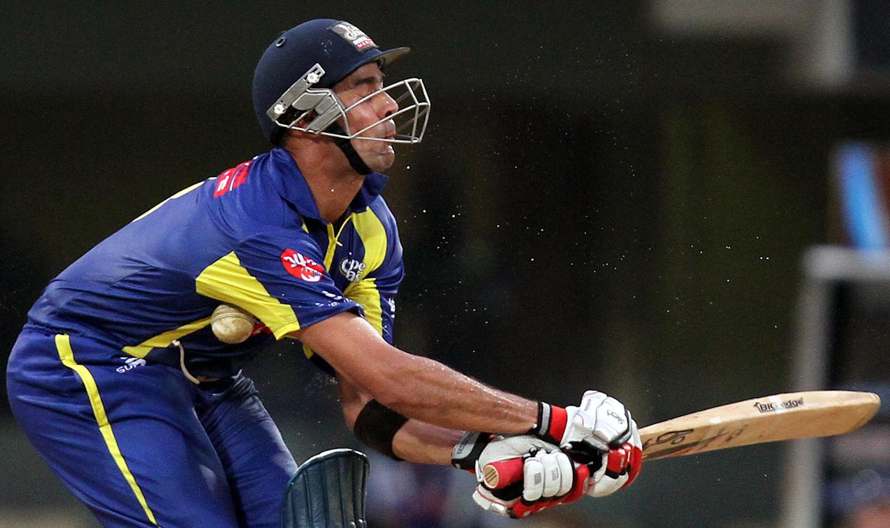 CHENNAI, INDIA - OCTOBER 4: Cape Cobras batsman Owais Shah is hit by the ball in the abdomen while attempting to play a shot during the Champions League Twenty20 Group A match between Cape Cobras and Trinidad & Tobago at M. A. Chidambaram Stadium on October 4, 2011 in Chennai, India.   (Photo by Virendra Singh Gosain/Hindustan Times via Getty Images)