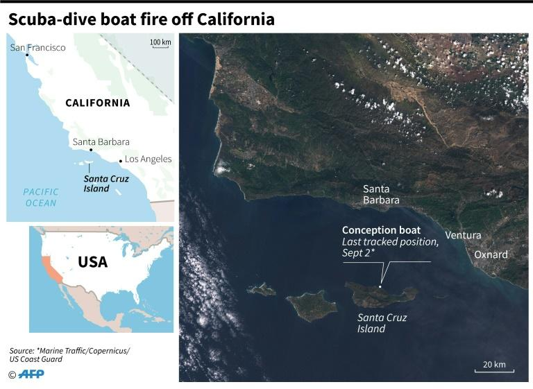 This map shows the position of the scuba-dive boat Conception when it caught fire and sank near Santa Cruz Island, California (AFP Photo/)