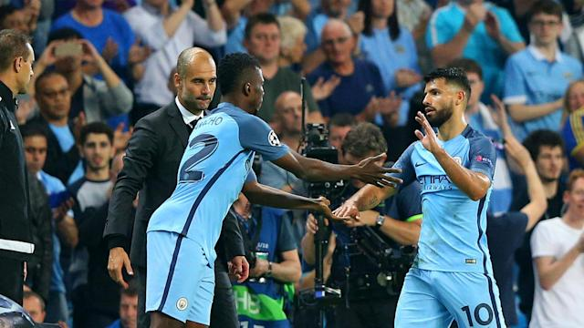 Pep Guardiola was not keen to discuss the futures of Sergio Aguero and Kelechi Iheanacho with Champions League football still to be secured.