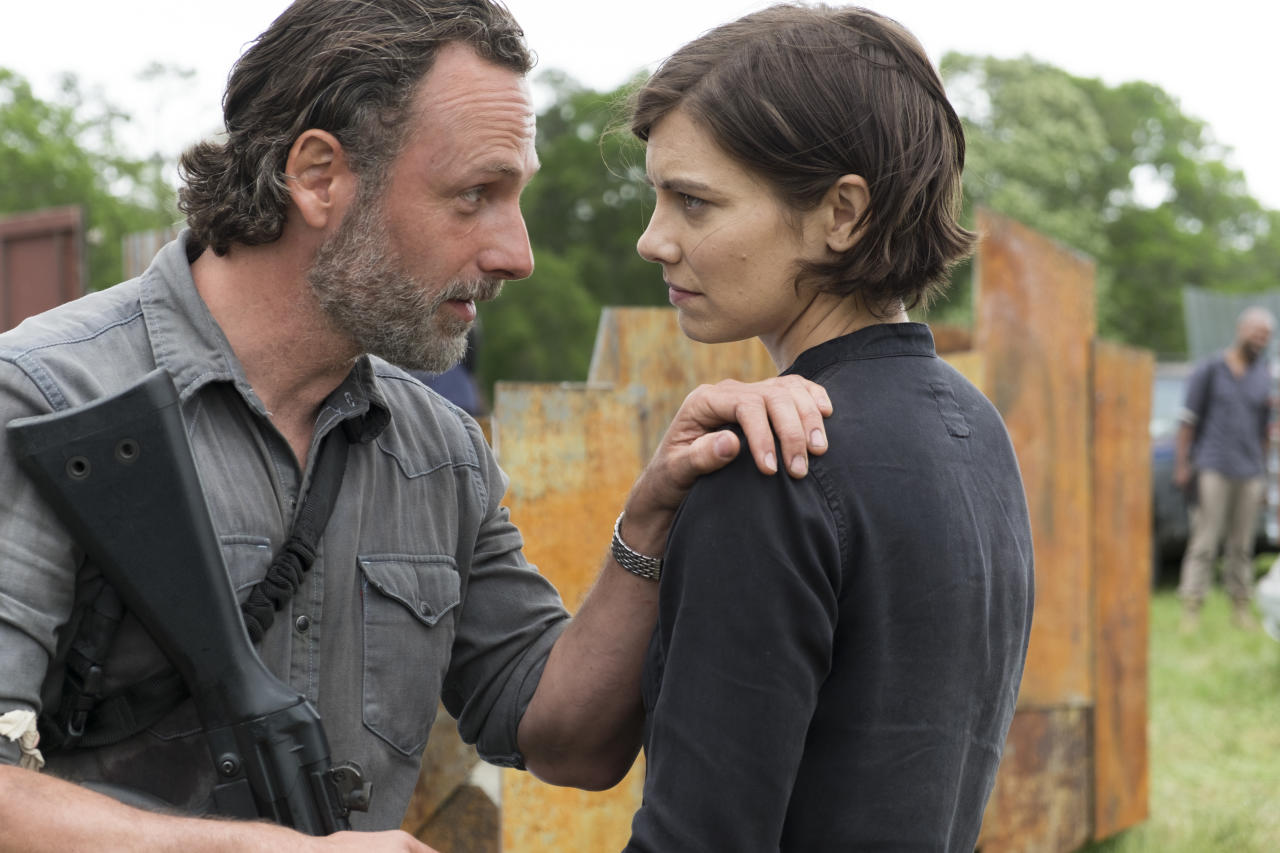 <p>Andrew Lincoln as Rick Grimes and Lauren Cohan as Maggie Greene in <i>The Walking Dead</i> Season 8, Episode 1.<br />(Photo: Gene Page/AMC) </p>