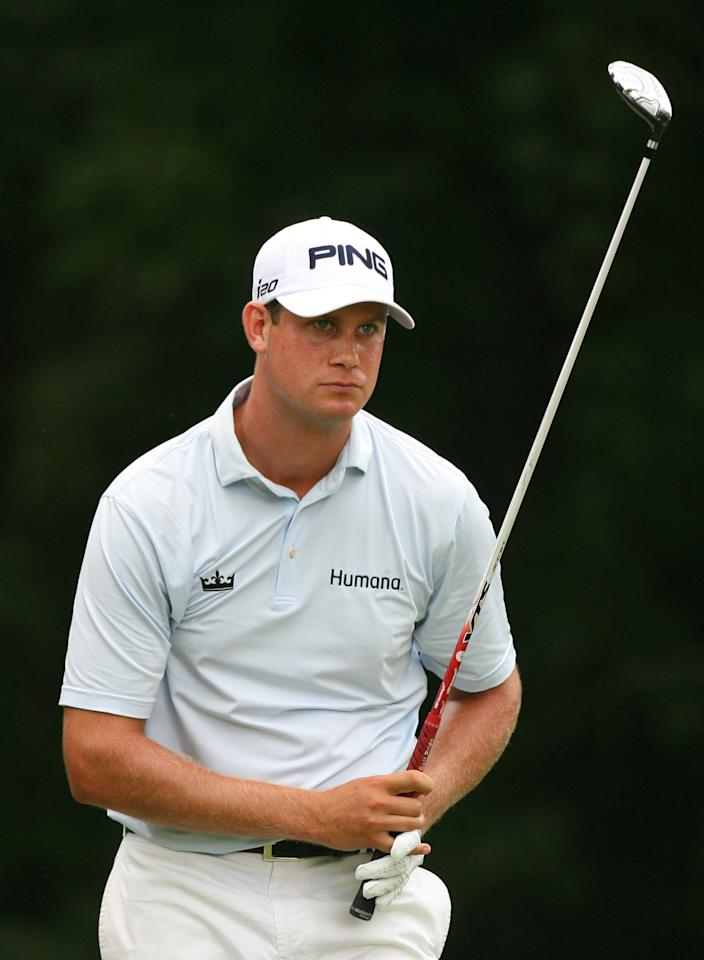 GREENSBORO, NC - AUGUST 18: Harris English watches his tee shot on the fourth hole during the third round of the Wyndham Championship at Sedgefield Country Club on August 18, 2012 in Greensboro, North Carolina. (Photo by Hunter Martin/Getty Images)