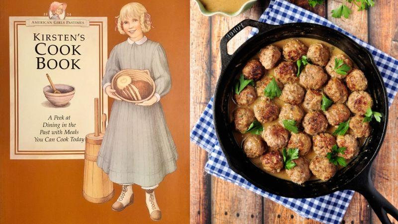 Left: The cover of Kirsten's Cook Book. Right: a skillet of Swedish meatballs.