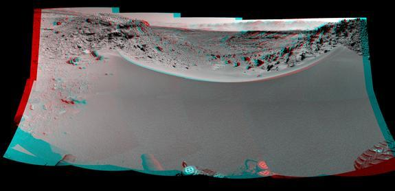 This stereo mosaic of images from the Navigation Camera on NASA's Mars rover Curiosity shows the terrain to the west from the rover's position on Jan. 30, 2014. The scene appears three dimensional when viewed through red-blue glasses with the r