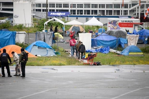 In June, a camp at CRAB Park was shut down. It had arisen not long after Oppenheimer Park was cleared, and many of its residents moved to Strathcona Park, where a camp has remained.