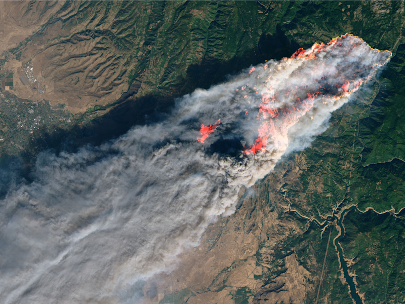 camp fire california satellite image nasa 8nov2018