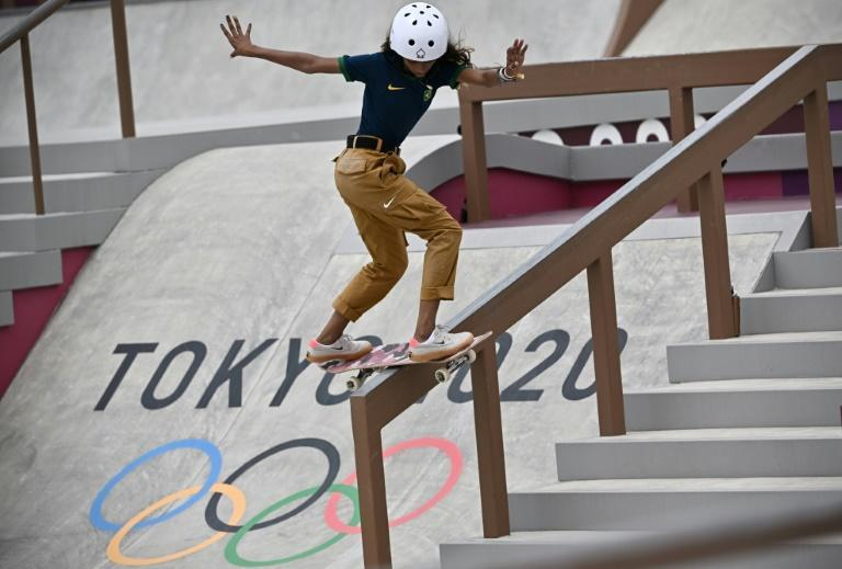 Rayssa Leal taking part in the street skateboarding competition at the Tokyo Olympics
