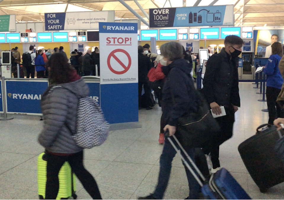 Going places: the check-in queue for Ryanair at Stansted airport (Simon Calder)