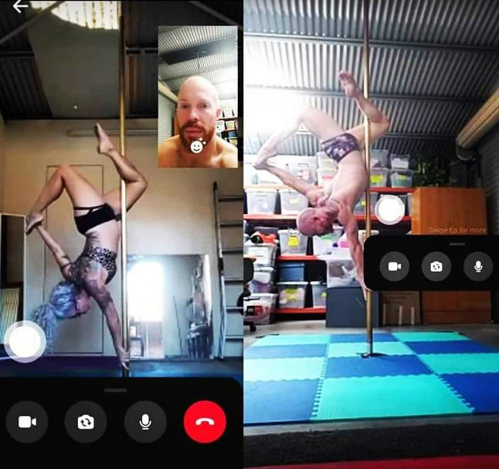 Mark and Robyn training together over video call (PA Real Life/Collect)