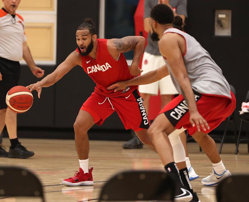 TORONTO, ON- AUGUST 5 - Corey Joseph reaches for a loose ball. The Canadian Men's Basketball Team hosts their first practice for the FIBA World Cup at the OVO Centre in Toronto. August 5, 2019. (Steve Russell/Toronto Star via Getty Images)