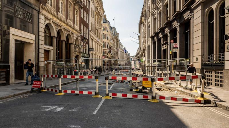 Road works on Cornhill in London