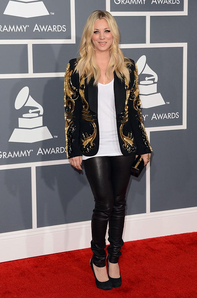 Kaley Cuoco arrives at the 55th Annual Grammy Awards at the Staples Center in Los Angeles, CA on February 10, 2013.