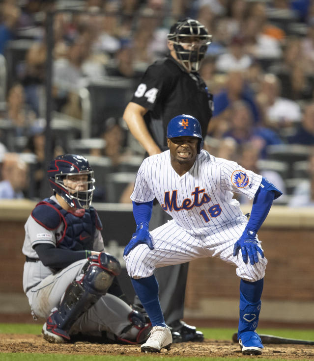 New York Mets' Rajai Davis reacts after fouling off a pitch during the seventh inning of the team's baseball game against the Cleveland Indians, Wednesday, Aug. 21, 2019, in New York. Davis struck out on the at-bat. (AP Photo/Mary Altaffer)