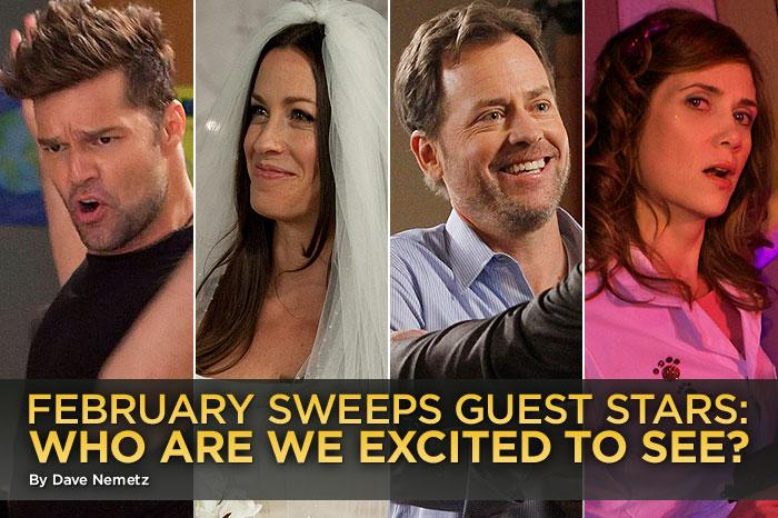 Now that this year's Super Bowl is in the books, we can get back to our second favorite pastime: spotting A-list stars as they pop up on our favorite shows during February sweeps. There are plenty of boldfaced names in the mix this year, so let's run through who's coming to TV this month -- and figure out whether they're worth tuning in for.