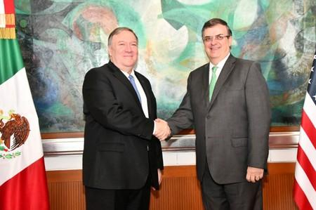 U.S Secretary of State Mike Pompeo shakes hands with Mexican Foreign Minister Marcelo Ebrard during a private meeting at the Foreign Ministry Building (SRE) in Mexico City