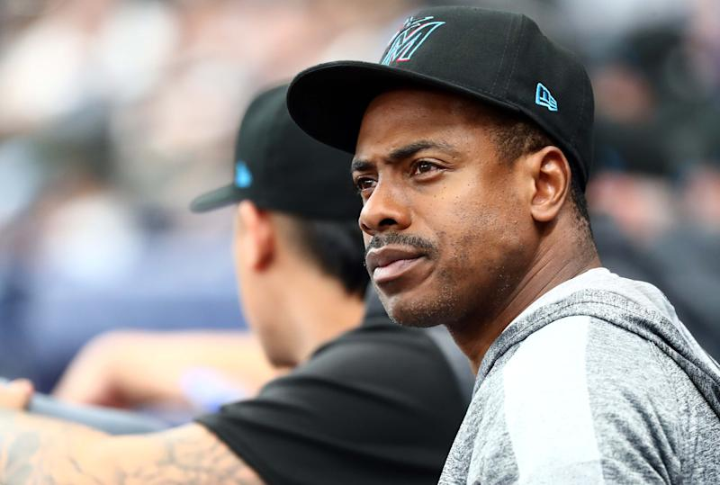 Aug 3, 2019; St. Petersburg, FL, USA; Miami Marlins left fielder Curtis Granderson (21) looks on during the first inning against the Tampa Bay Rays at Tropicana Field. Mandatory Credit: Kim Klement-USA TODAY Sports